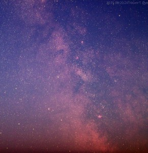 The centre of the Milky Way. Photgaphed using a modified Canon 1100D, Sigma 17-70mm lens, on an AstroTrac TT320X-AG