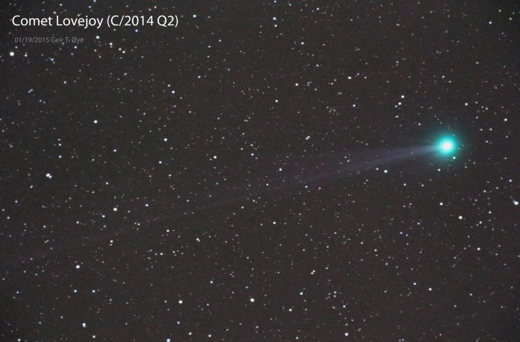Comet C/2014 Q2 Lovejoy photographed on January 19, 2015 from Ørsta, Norway. Photo details: Borg 67FL (F/3.8), Canon EOS 650D, Unitec Swat-200 mount.