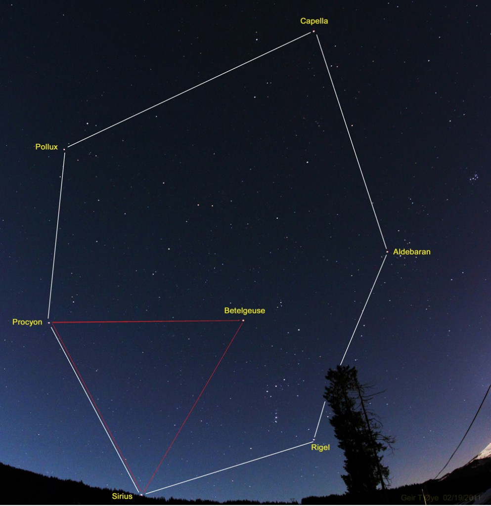 February 19, 2011. The Winter Hexagon and the Winter Triangle.