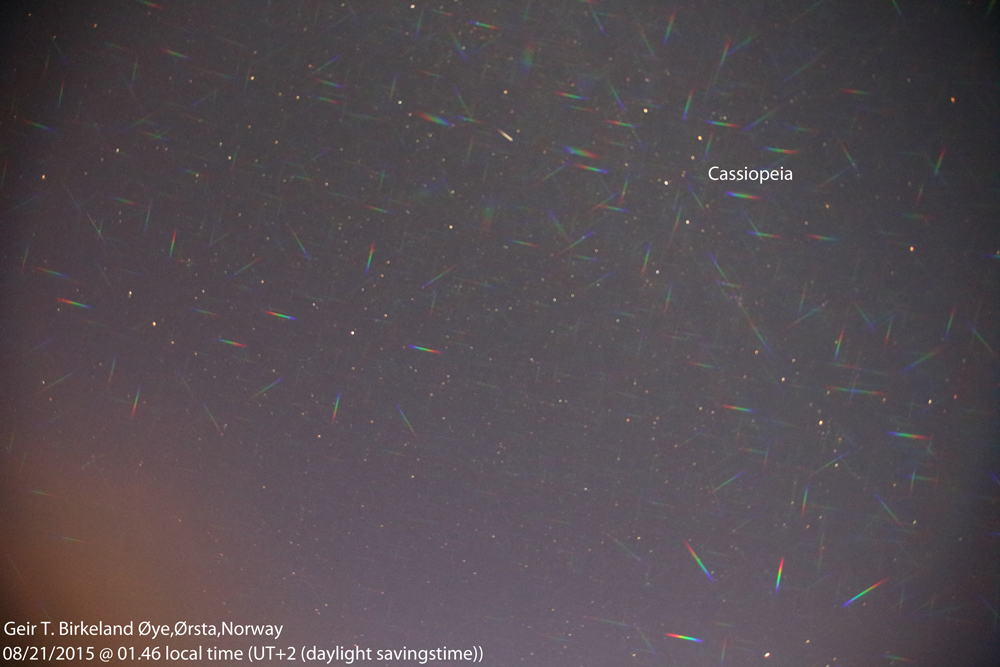 Spectrum obtained on August 21, 2015. At 01.46 local (daylight savings) time (UTC+2). Photo details: Canon EOS 650D, Sigma 15 mm fish-eye lens, Diffraction Grating Double Axis 13,500 lines/inch Laser Spectrometer. ISO: 3200. Exposure: 50.2 seconds.