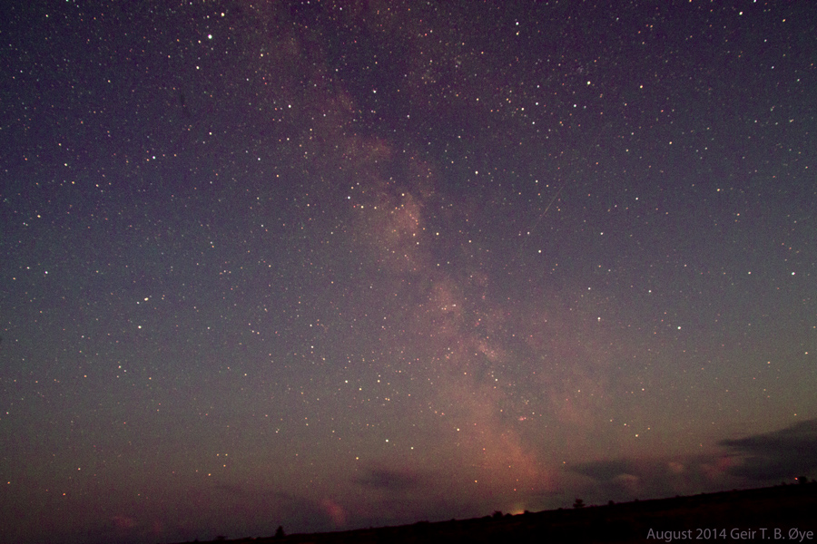The Milky Way above the clouds.  Photographed from Øland, Sweden. In August 2014.