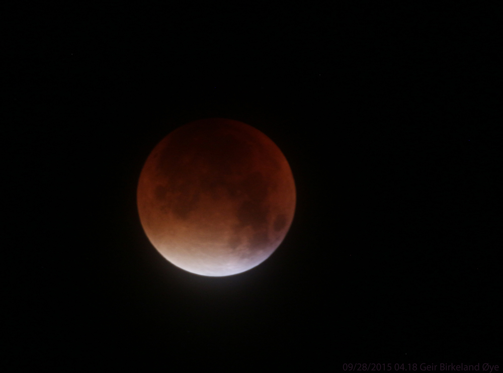 A glimpse of the eclipsed 'Supermoon' on September 28, 2015. This photo was taken at 04.18 local time.