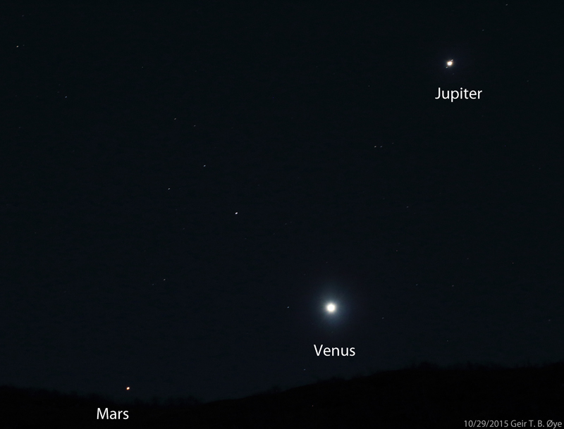 Mars, Venus and Jupiter conjunction. Picture taken at 06.05 am local time on October 29, 2015.  Photo details: Canon 650D, Sigma 50-500 mm lens.