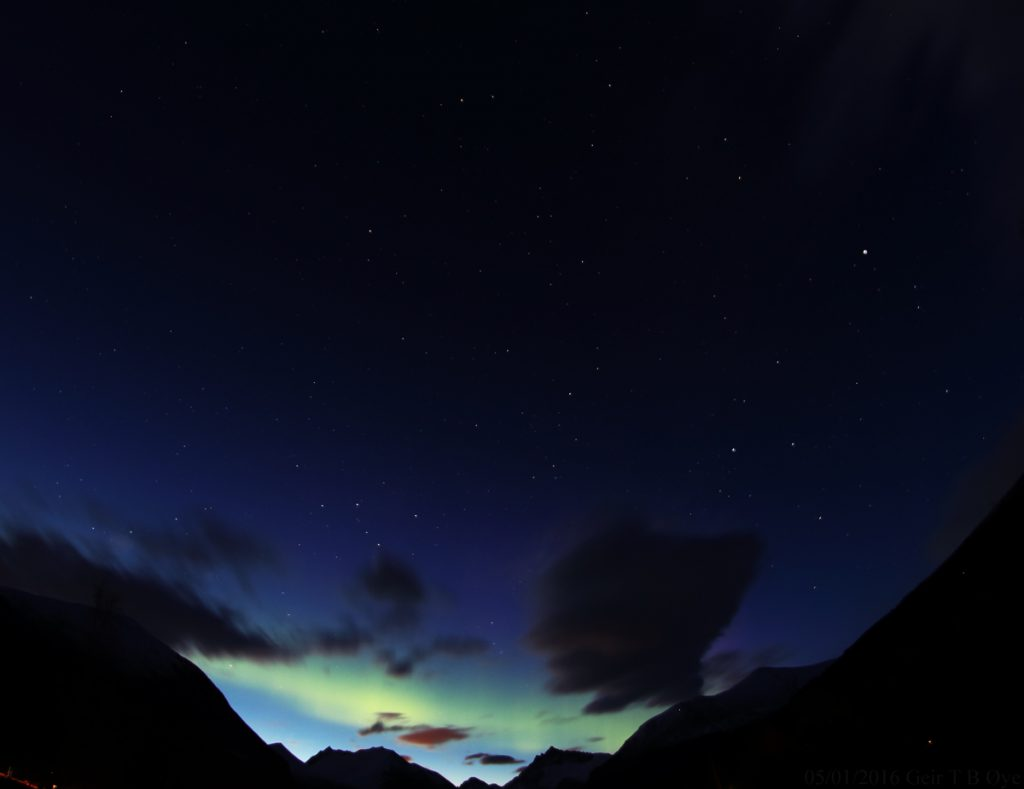 A brief spell of Aurora Borealis on May 1, 2016. This photo was taken at about 00.36 local time.