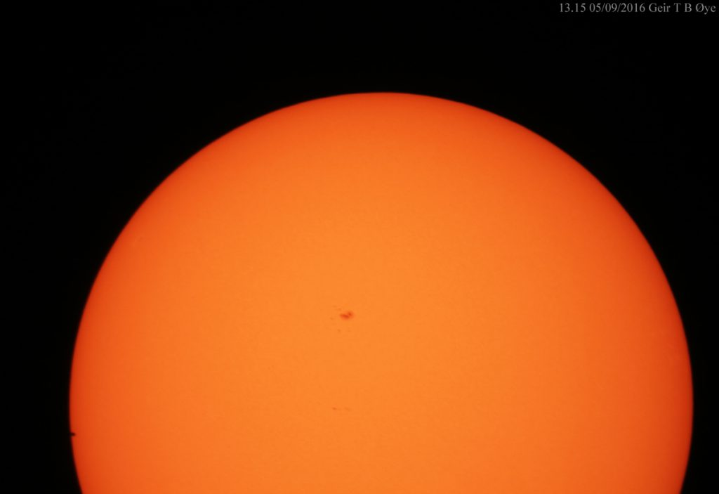 Mercury in the foreground of the solar disk. This photo was taken at about 13.15 local time on May 9, 2016.