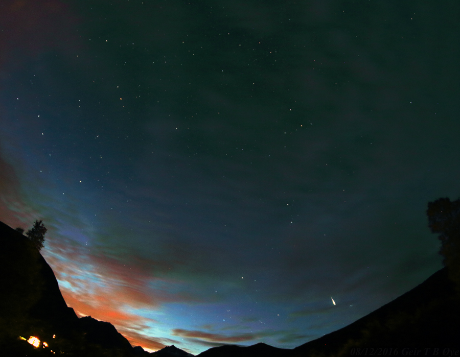Bright Perseid on a bright cloudy sky. Image taken at about 01.23 local time. Photo details: Canon 650d, Samyang 8 mm fish-eye lens.