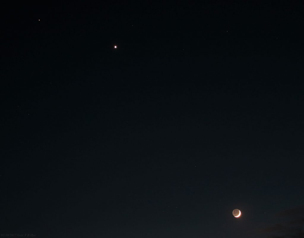 Mars, Venus and The Moon on January 30, and 31 2017.