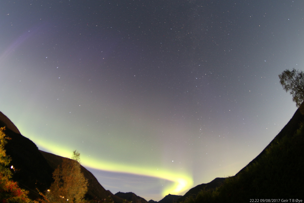 The northern lights over the valley. From my vantage this was a brief display on a moon bright sky. Photo details: Canon 650D, 8 mm fisheye lens. Local time 22.22 on September 8, 2017.