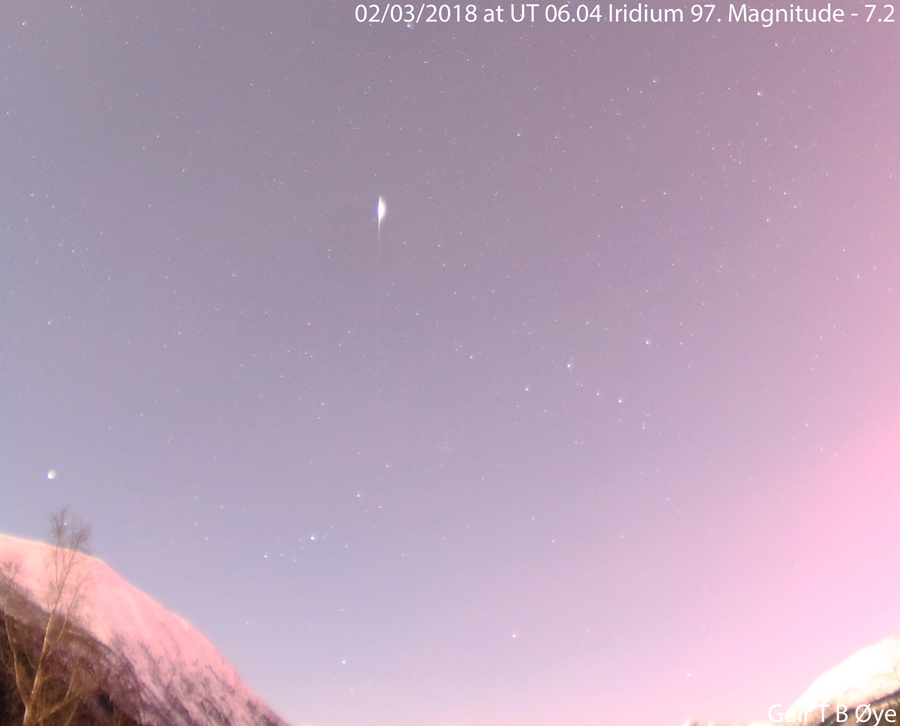 Iridium 97 flaring up in the morning sky. Photographed on February 3, 2018 at 07.04 local time. Estimated magnitude - 7.2.