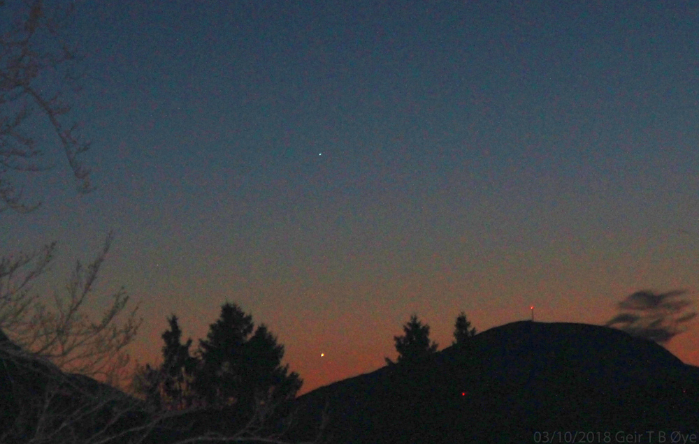 The innermost planets (Mercury and Venus) shines nicely after sundown. This photo was taken on March 10, 2018.