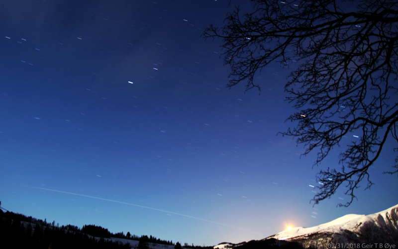 The International Space Station was visible over Ørsta, Norway on March 31, 2018.