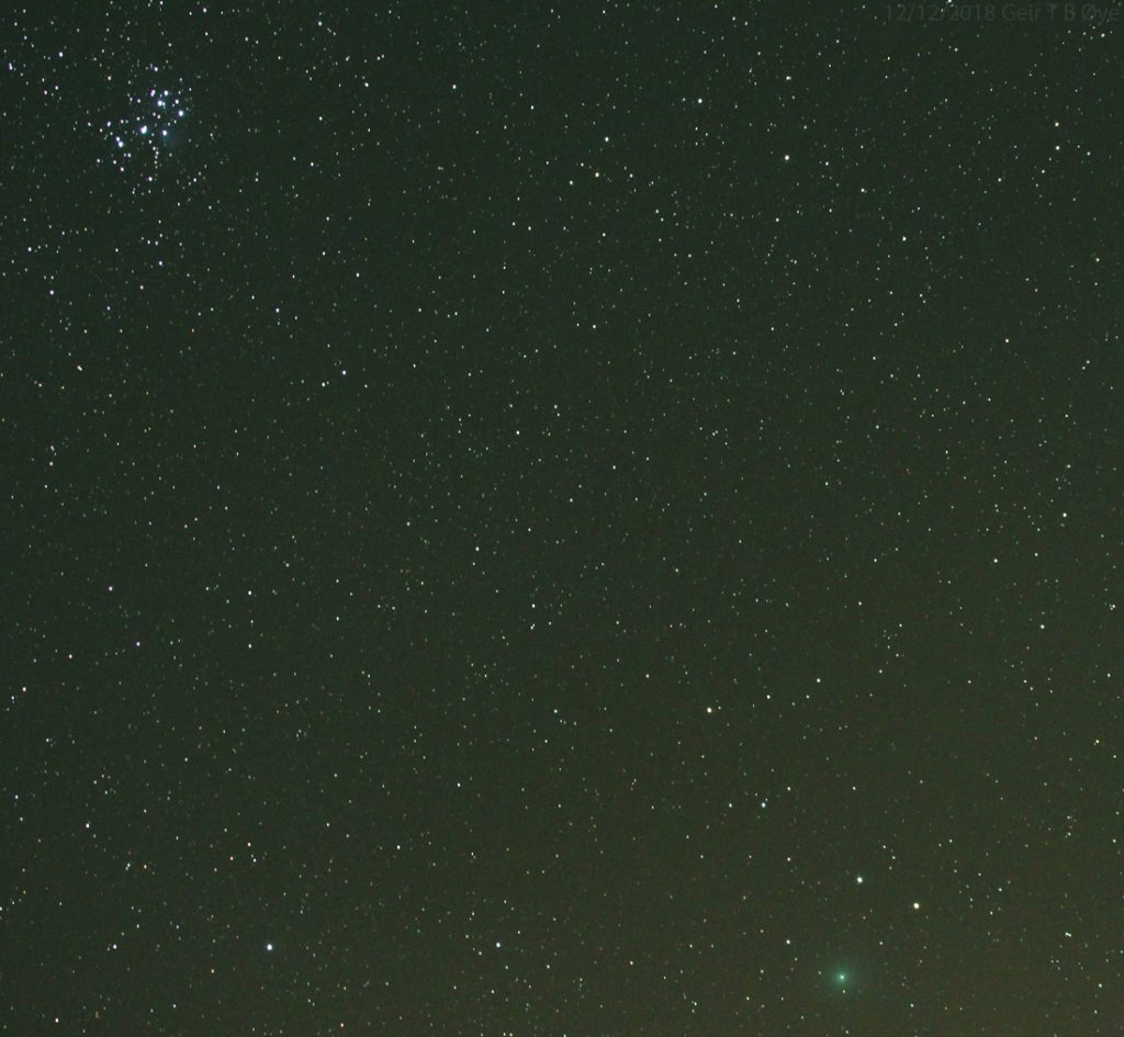 Comet 46P/Wirtanen and the Pleiades. Photographed through a Sigma 50-500mm, Canon 700D, Unitec Swat-200 mount. Both images;Iso:3200,exposure: 118 seconds.