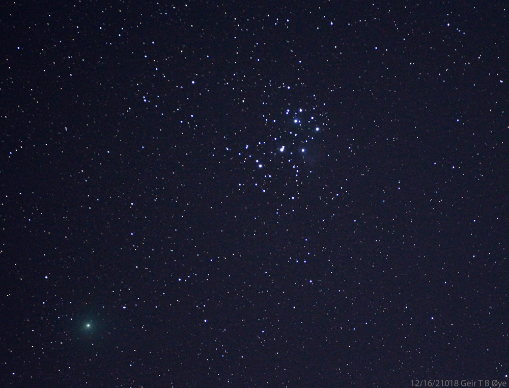 Comet 46P/Wirtanen photographed from Ørsta 16. desember 2018. On this day the comet passed the Earth at a distance of only 11.5 million kilometers. The comet flew in front of the Pleiades (M45) in the constellation Taurus.