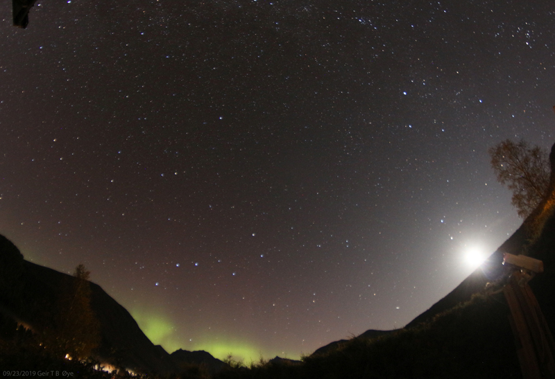 A spekk of auroral activity on September 23, 2019. Location: Ørsta, Norway
