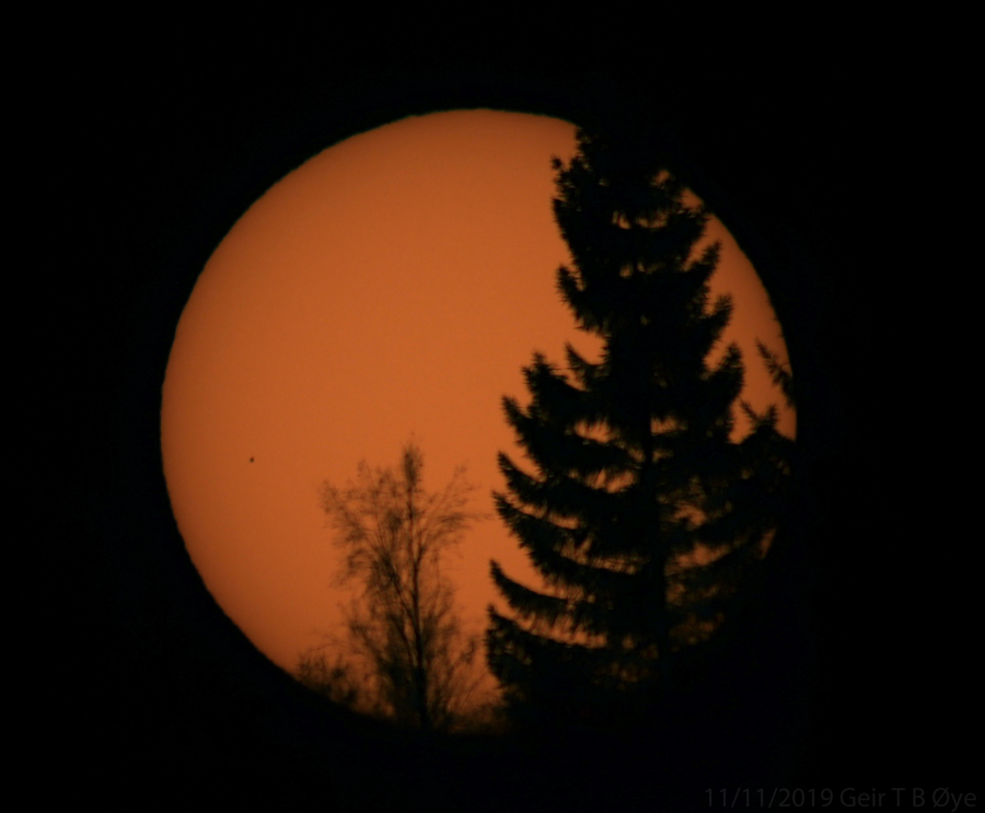 The Transit Of Mercury was only partly visible because of a low / early setting sun. This photo was taken at about 14.18 local time.