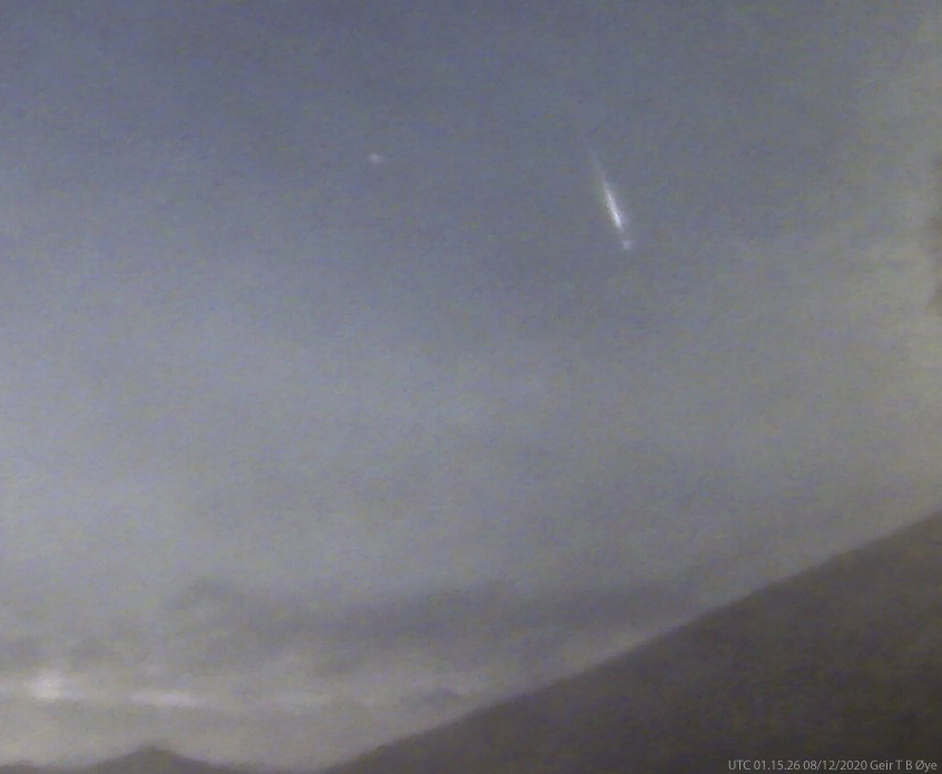 This fireball was captured through clouds and a nearby bright moon. Snapped at about UTC 01.15 on August 12, 2020. Local time am 03.15. Brinno timelapse camera.