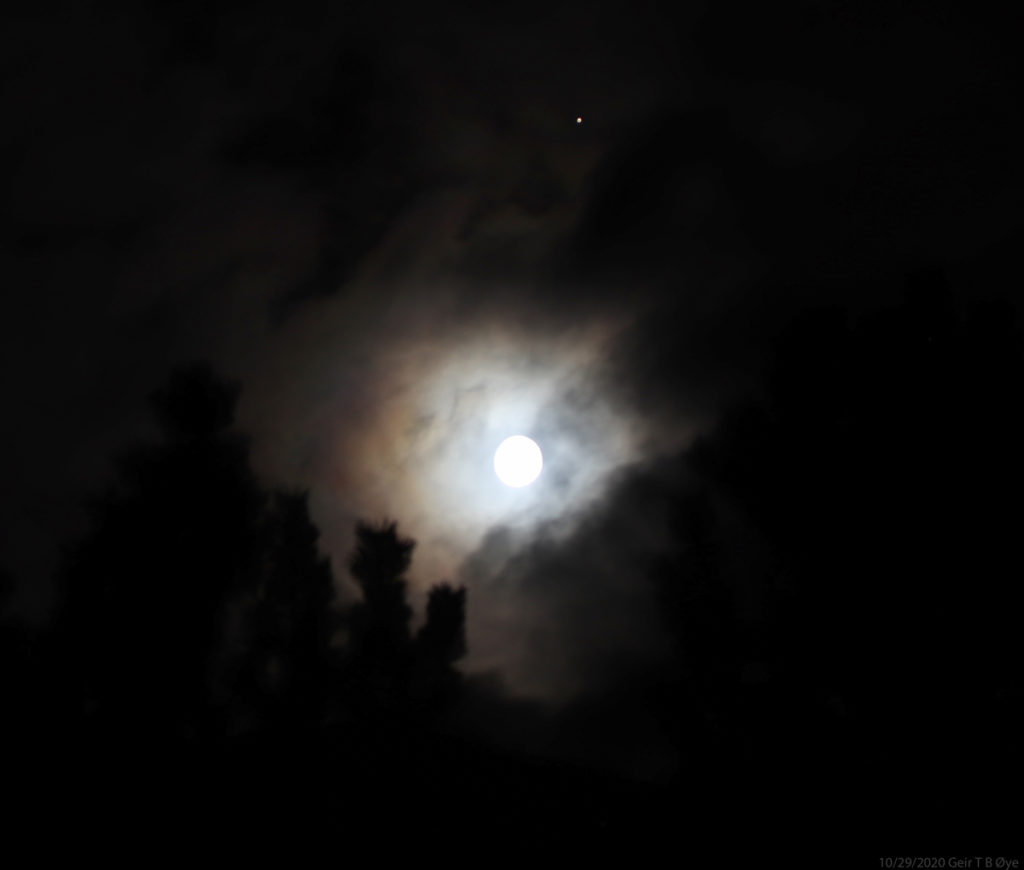 A colorful ring around the Moon, and Mars above. Framed by a pine tree. A beautiful sight. Details: Canon 800D, Sigma 50-500